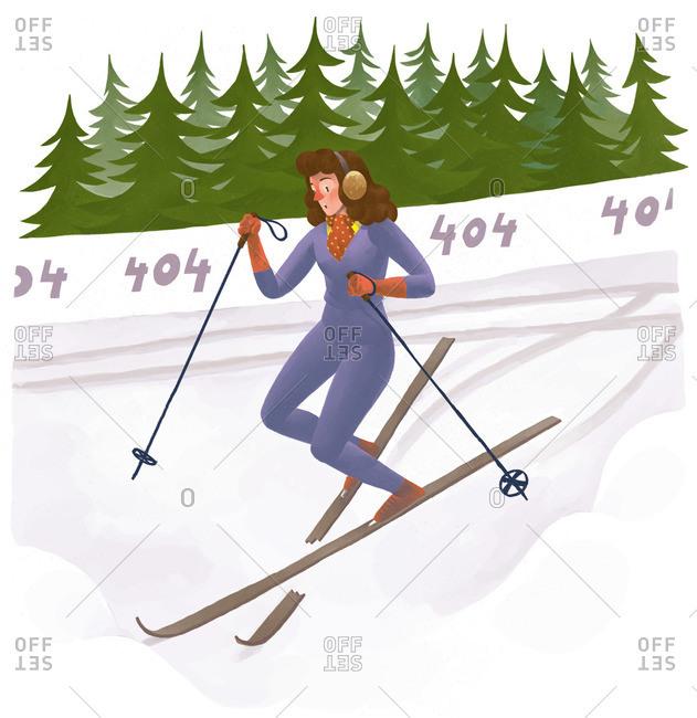 Retro alpine skier with a broken ski