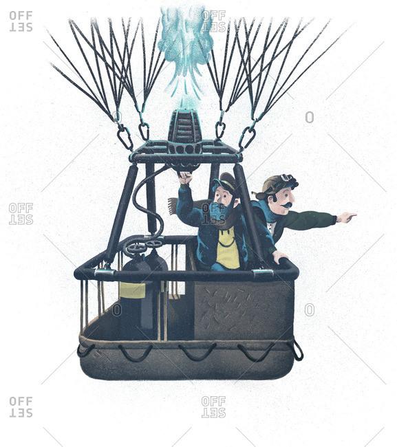 Men riding in a hot air balloon