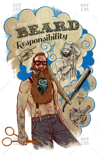 Poster featuring a man with a long beard