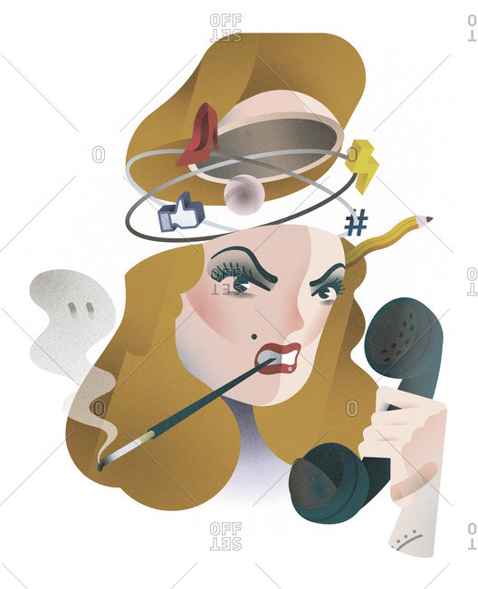 Stressed out woman with cigarette and telephone