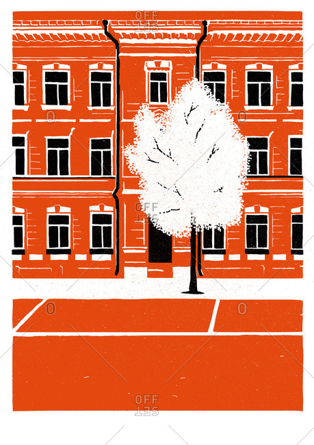 Tree in front of a bright red building