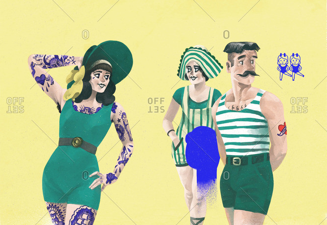 People in 1920s swimming costumes