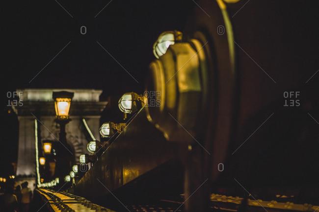 Chain Bridge crossing the Danube in Budapest at night