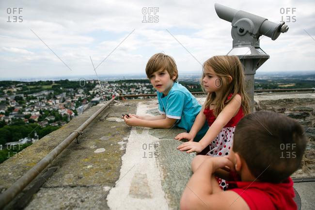 Children at an observation tower