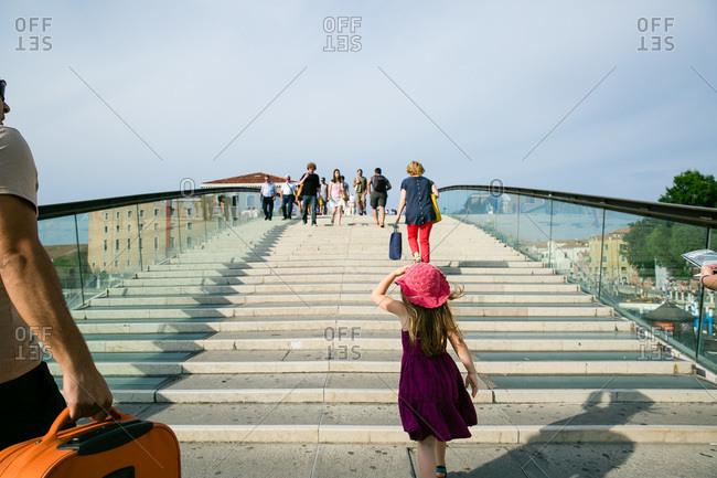 Tourists on Calatrava Bridge in Venice, Italy