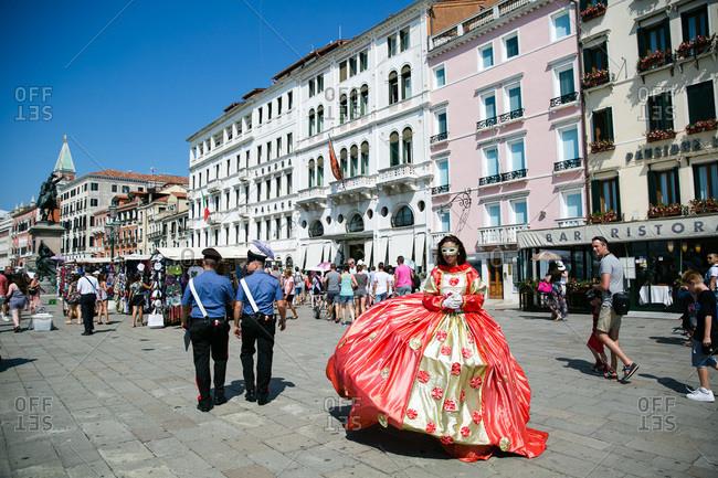 Venice, Italy - July 27, 2015: Street performer in Venice, Italy