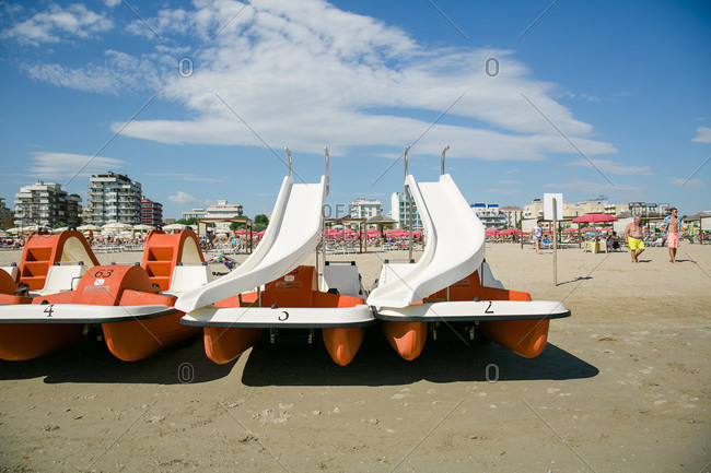 Floating water slides at the beach in Rimini, Italy