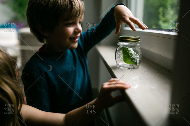 Boy with insect he collected in a jar