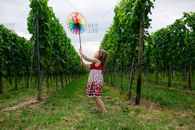 Girl playing with a pinwheel in a vineyard