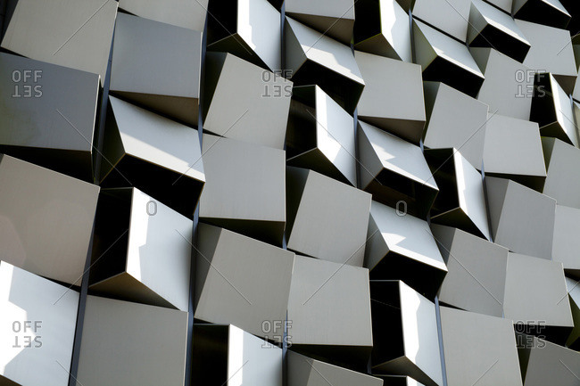 Sheffield, England, UK - August 12, 2015: Detail view of cube covered building exterior