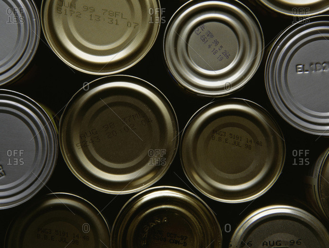 Cans of food stamped with expired best before end dates