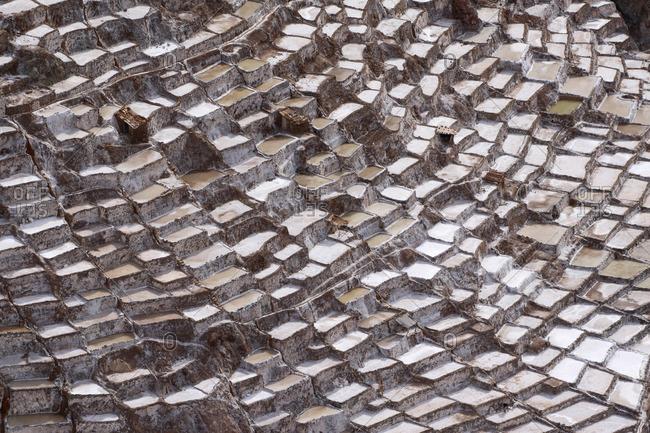 Salt pans in Maras, Peru