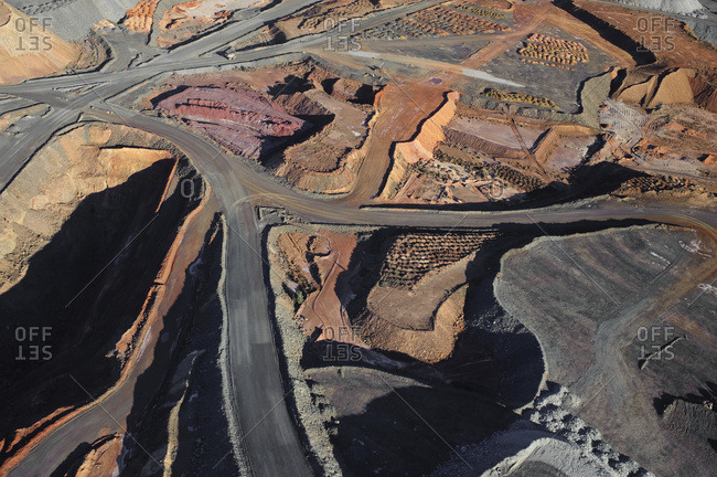 Aerial view of interconnected roads in a mining area in the Australian Outback