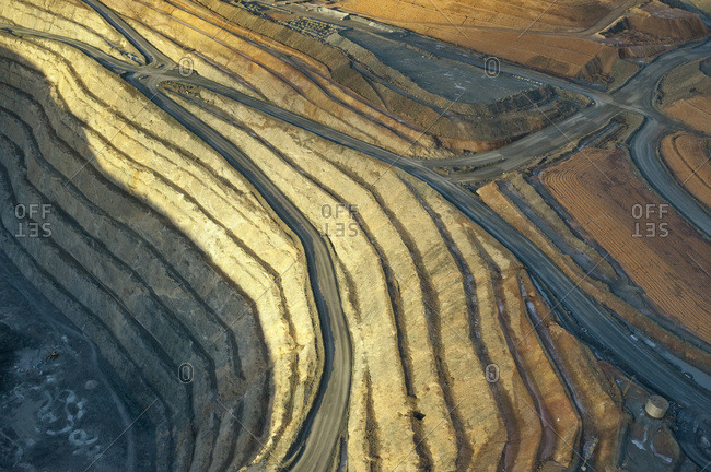 Aerial view of ridges of earth in mining are of Australian Outback