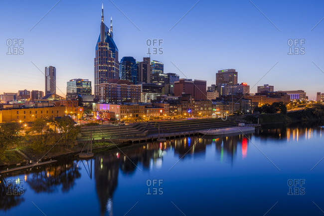 Nashville and Cumberland river in the evening