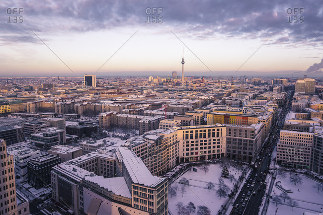 City view with Leipziger Strasse in winter, Berlin