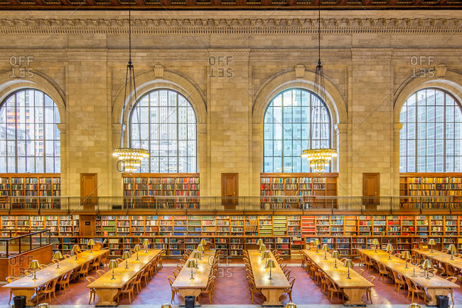 New York City - March 14, 2014:  Rose Main Reading Room inside the New York Public Library