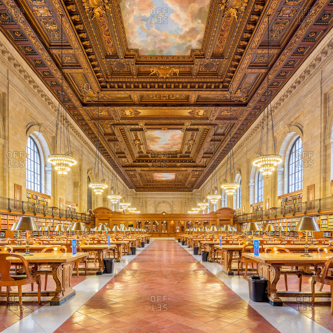 New York City - March 14, 2014:  New York Public Library's Rose Main Reading Room