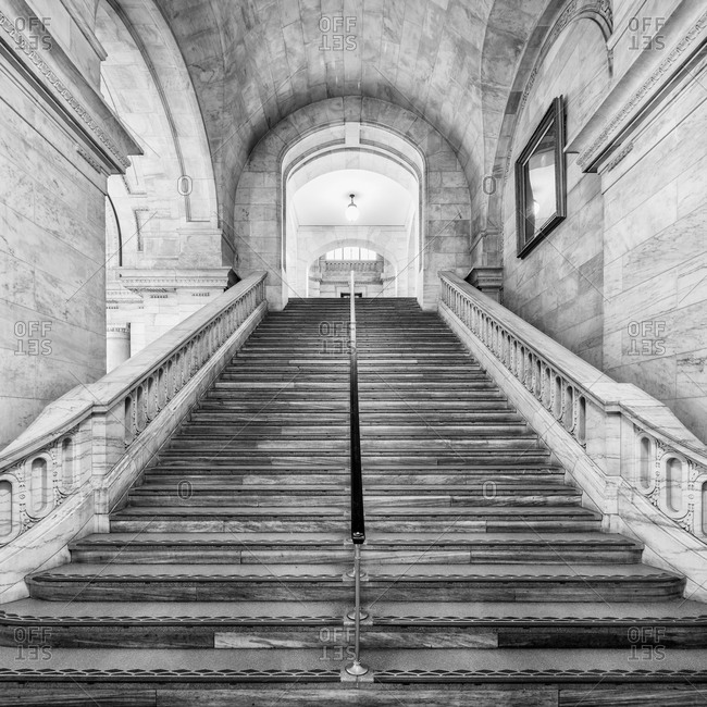 New York City - March 14, 2014: Staircase in Astor Hall inside the New York Public Library