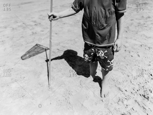 Neck down portrait of young boy on beach holding fishing net