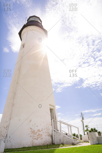 Low angle view of Port Isabel lighthouse in Texas