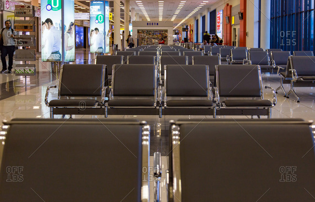 Sheremetyevo Airport, Moscow - July 10, 2015: Stores and seating in Sheremetyevo Airport, Moscow