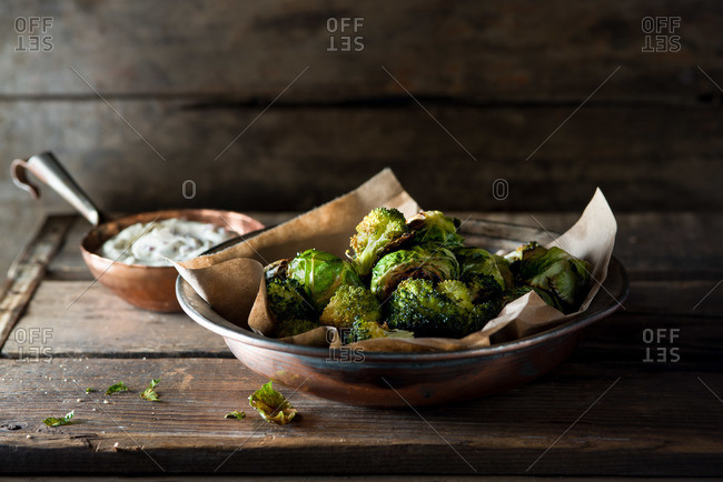 Roasted broccoli and brussels sprouts