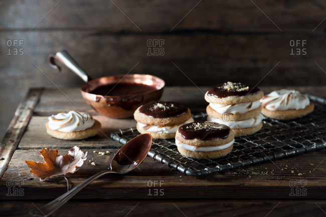 S'mores cookies on a baking tray
