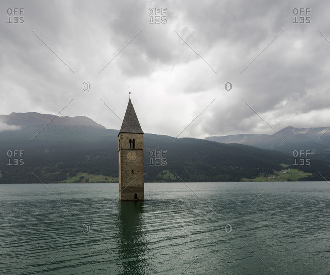 Bell tower of Drowned Village in Italy