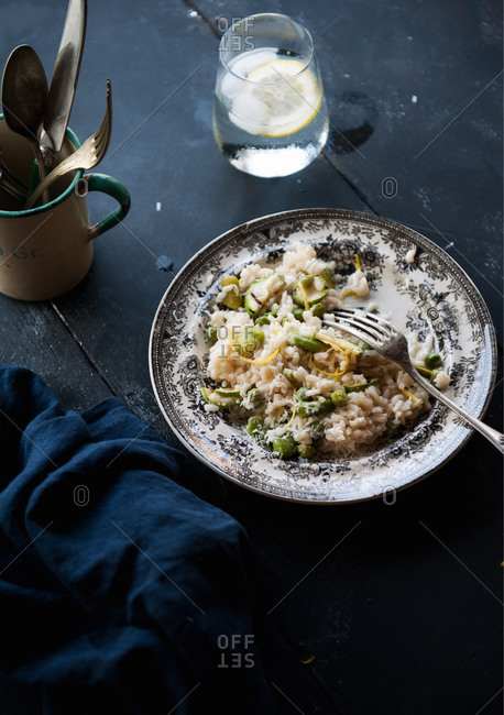 Summer vegetables risotto