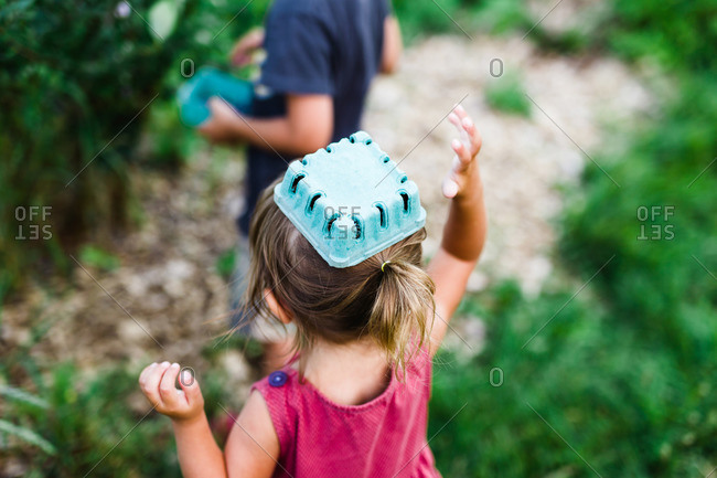 Girl with carton on head during berry picking