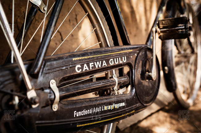 Paicho, Uganda - February 27, 2015: Close up of a logo on a bicycle