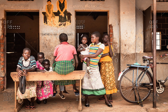 Paicho, Uganda - February 28, 2015: Group of children standing outside of a Ugandan school