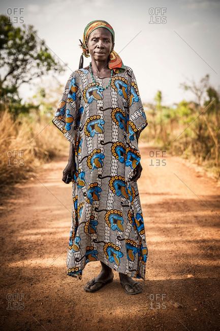 Omel, Uganda - March 3, 2015: Ugandan woman in traditional clothing