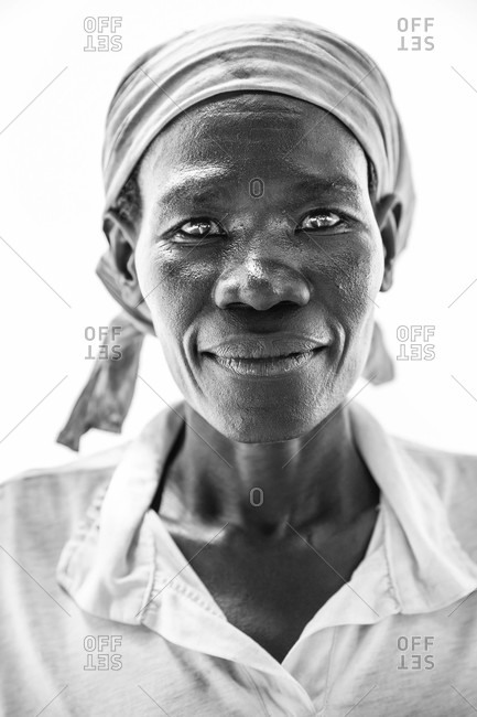 Paicho, Uganda - March 5, 2015: Portrait of a Ugandan woman wearing a head wrap