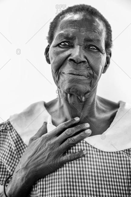 Paicho, Uganda - March 5, 2015: Portrait of a senior Ugandan woman