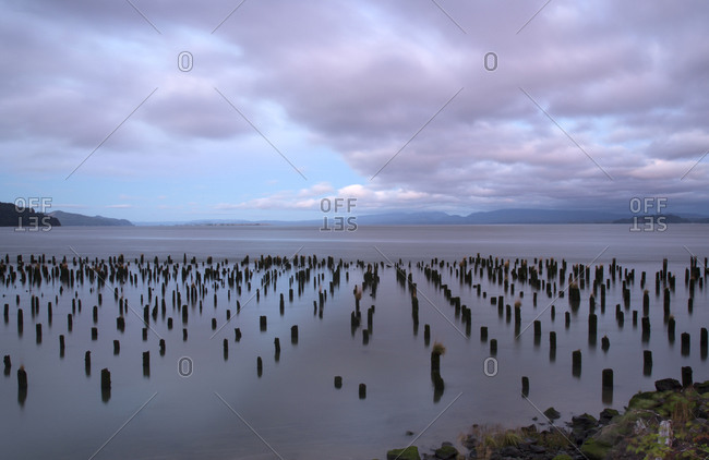 Remnants of a pier on the Oregon coast