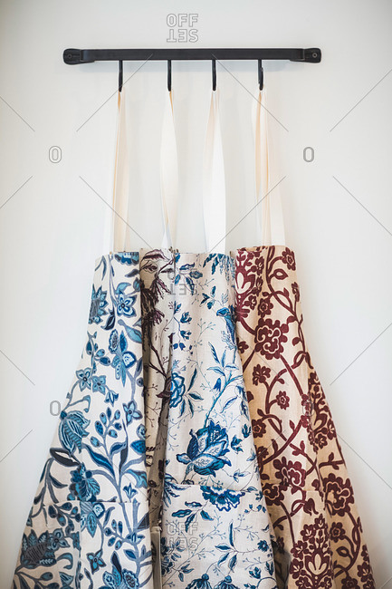 Aprons on display in store