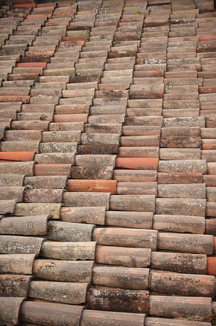 Red terracotta tiles in San Marino