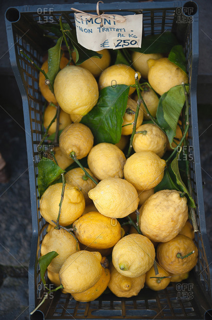 Fresh lemons for sale in Sorrento, Italy
