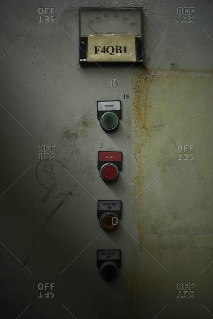 Buttons in an old abandoned factory