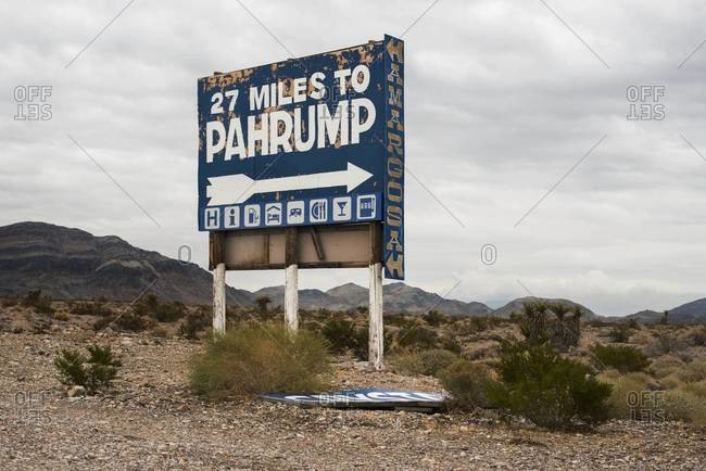 Old sign for Pahrump, Nevada