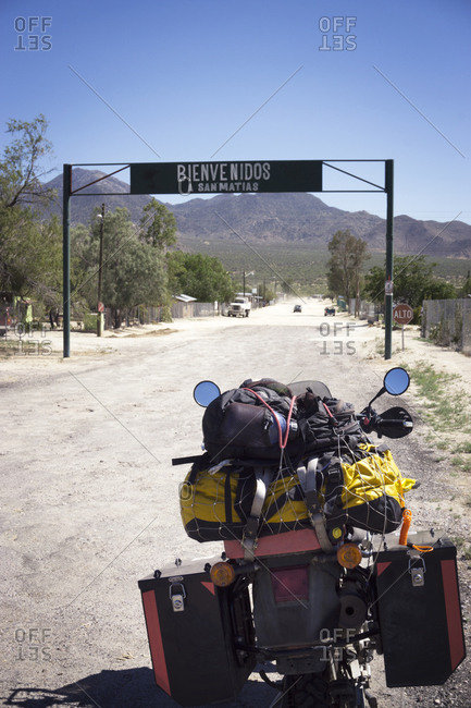 Loaded up motorcycle in Baja California, Mexico
