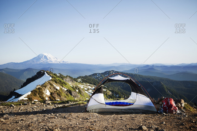 Tent set up on mountain summit