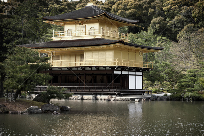 Japanese pagoda on a shoreline