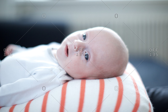 Infant baby staring with curiosity