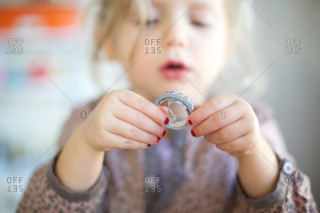 Girl holding new year's ribbon