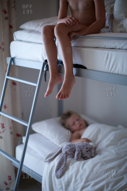 Useful message little girl sleeping in bed feet