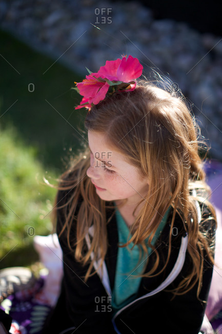 Girl with flower in hair child