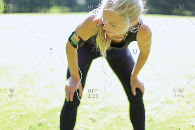 Woman in jogging outfit
